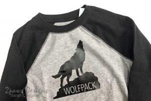 DIY Howling Wolfpack Shirt closeup