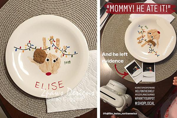 Elf Cookies - Handprint Reindeer Plate