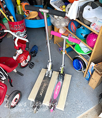 DIY Scooter Stand in Garage