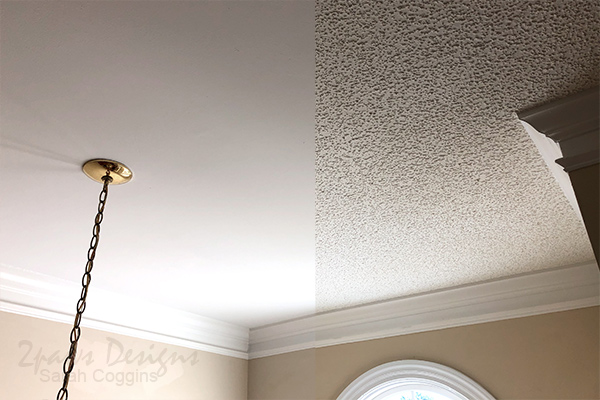 Foyer Ceiling: Before & After Popcorn Ceiling Removal