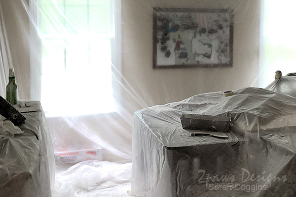 Furniture Covered in Plastic for Popcorn Ceiling Removal