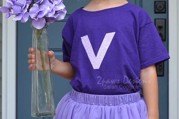 Completed Vicky Violet Shirt for the Letterland Parade