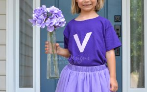 Vicky Violet Costume with a Vase of Flowers in Hand