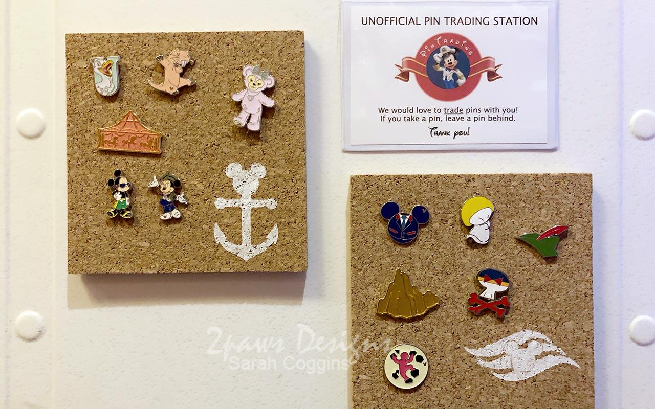 Disney Pin Trading Boards on Stateroom Door