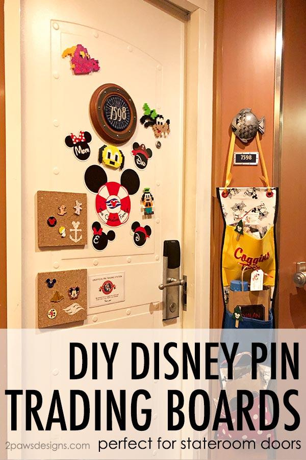 DIY Disney Pin Trading Boards on Stateroom Door